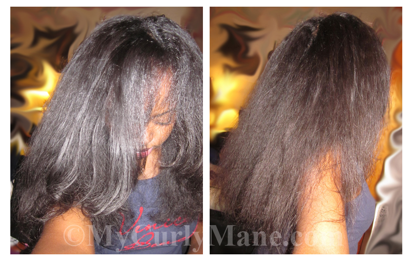 straightened natural hair