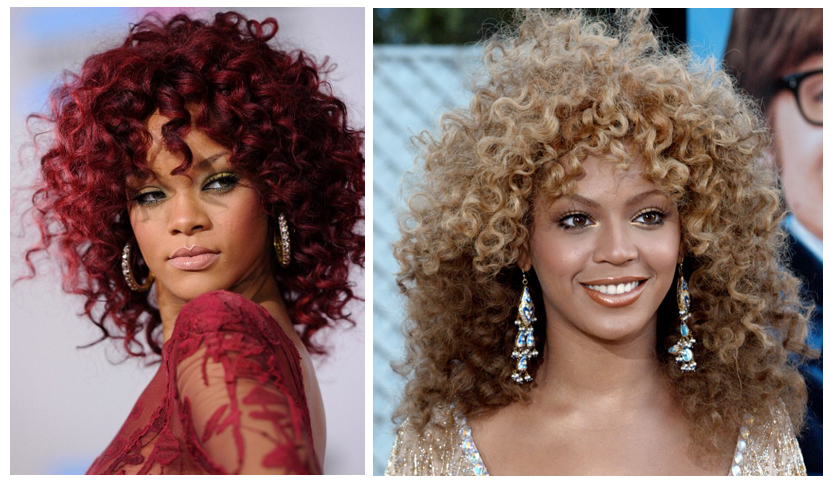 Rihanna and Beyonce with Curls